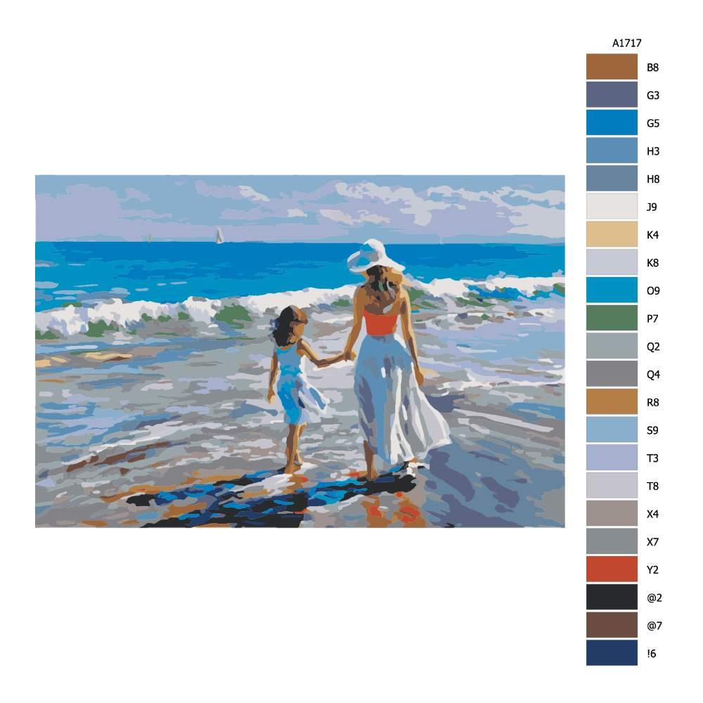 Návod pro malování podle čísel Matka s dcerou