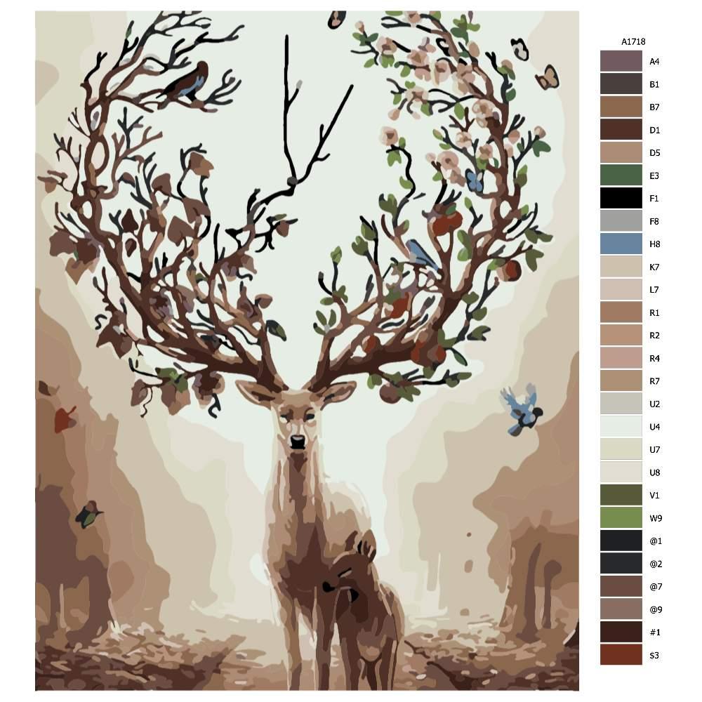 Návod pro malování podle čísel Matka příroda