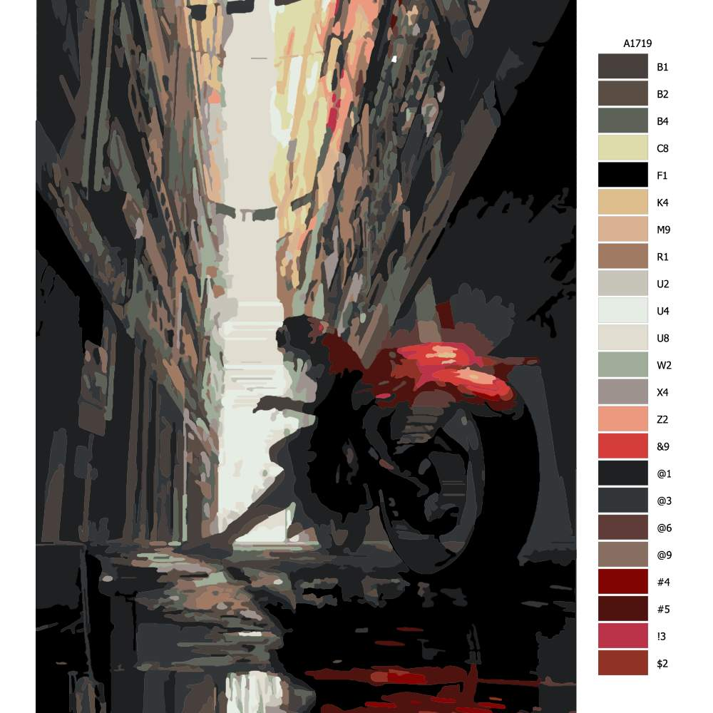 Malování podle čísel Opřen o motorku