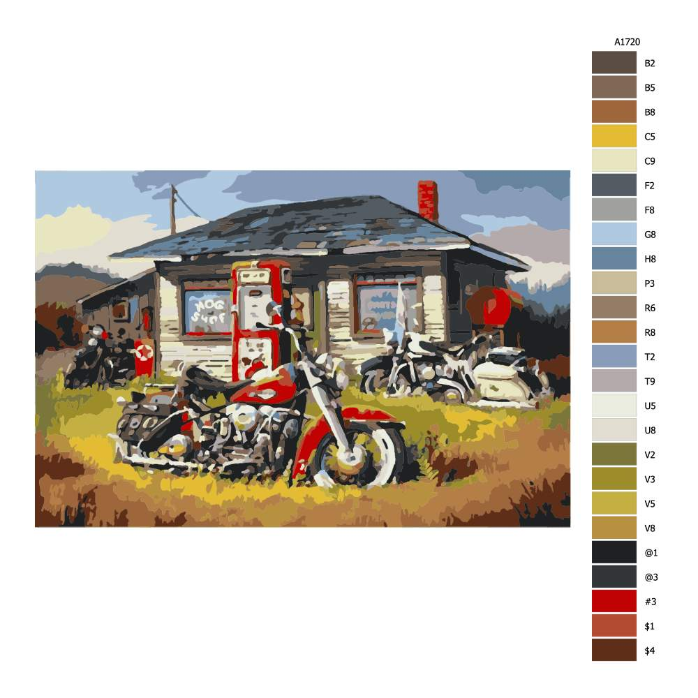 Návod pro malování podle čísel Motorky před domem