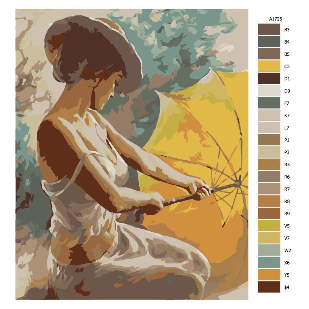 Návod pro malování podle čísel Můj žlutý deštník