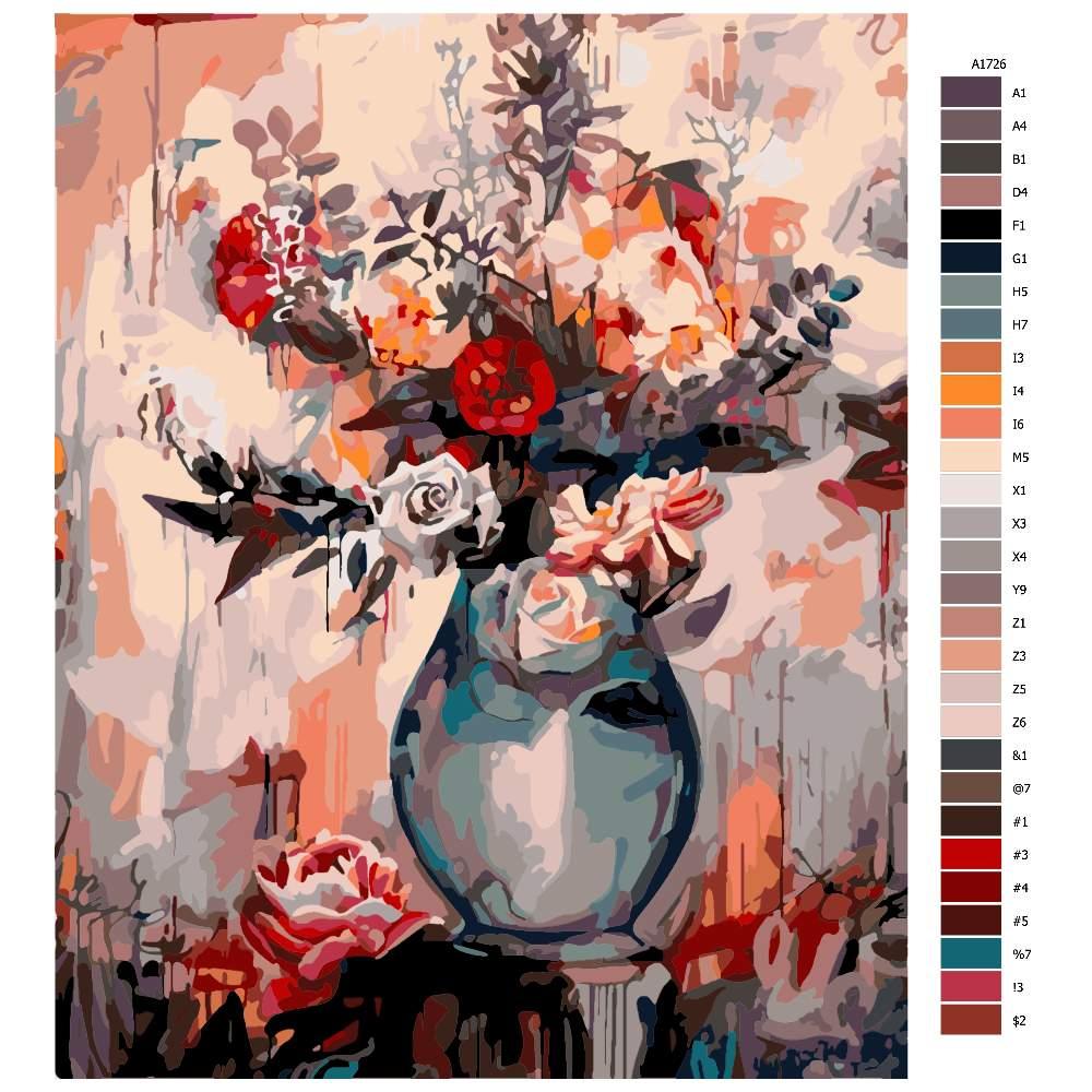 Návod pro malování podle čísel Tajemná váza
