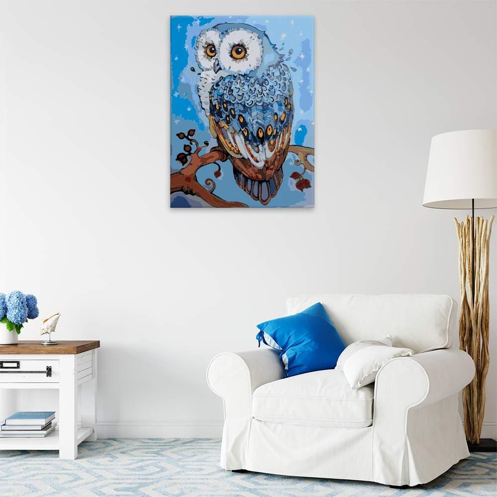 Malování podle čísel Tajemná modrá sova