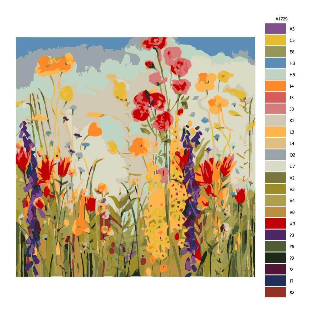 Malování podle čísel Polní kvítí s modrou oblohou