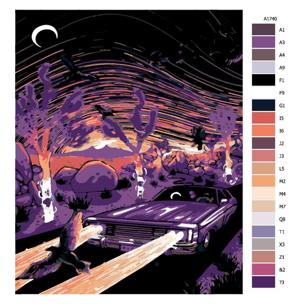 Návod pro malování podle čísel Noční jízda
