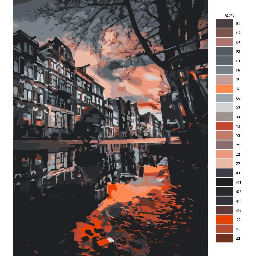 Návod pro malování podle čísel Na kole ve městě při soumraku
