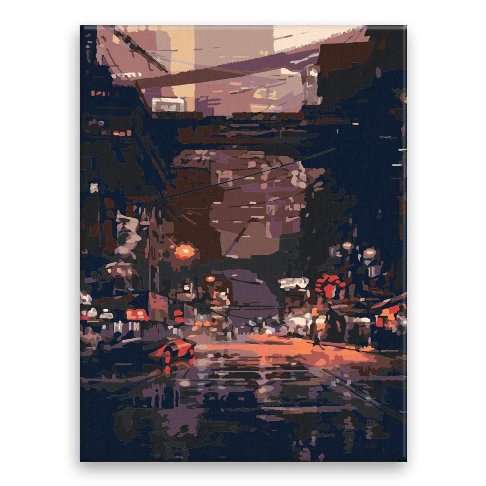 Malování podle čísel Noční město budoucnost