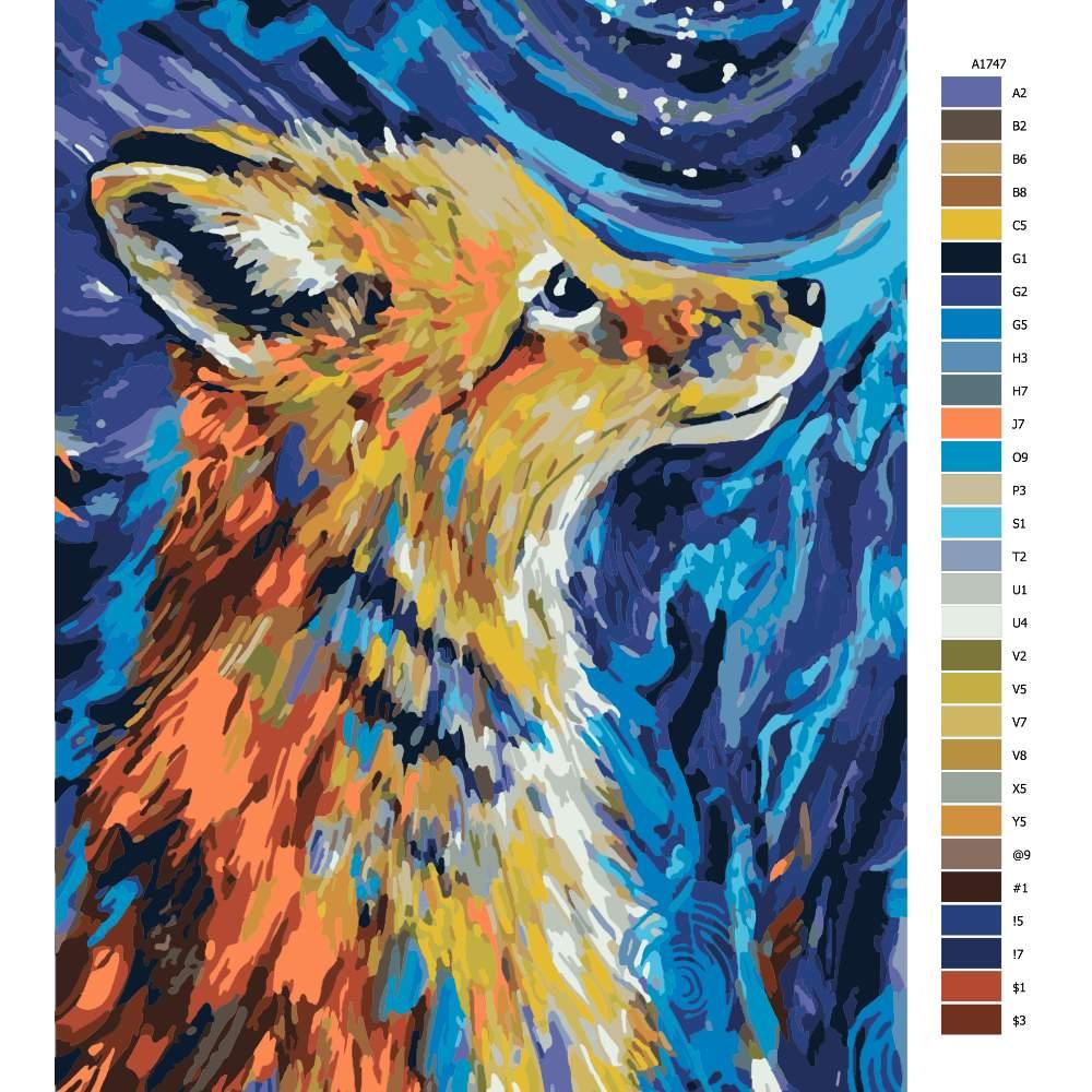 Návod pro malování podle čísel Liška z pohádky