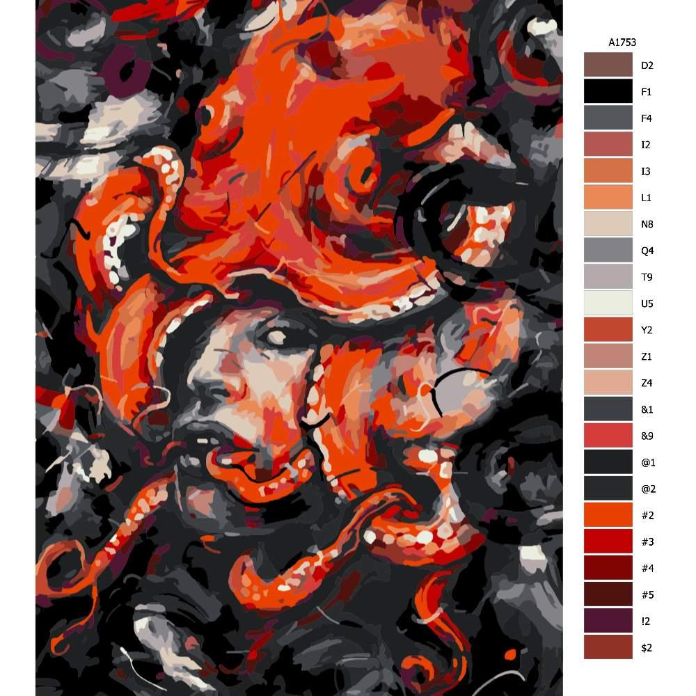 Malování podle čísel Hlava medůzy