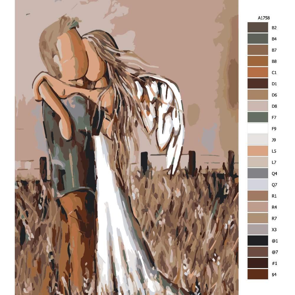 Návod pro malování podle čísel Andělské objetí
