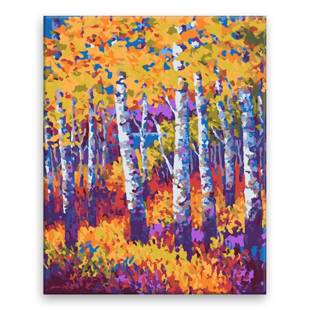 Malování podle čísel Břízy na podzim