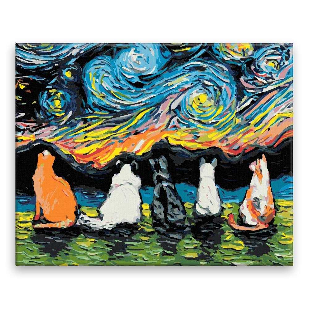 Malování podle čísel Kočičí sněm