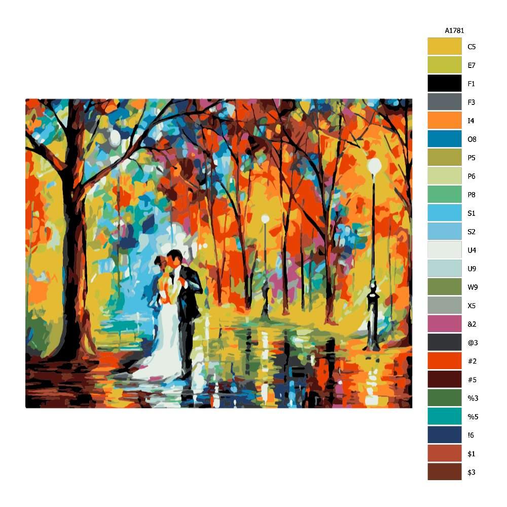 Návod pro malování podle čísel Tanec v parku