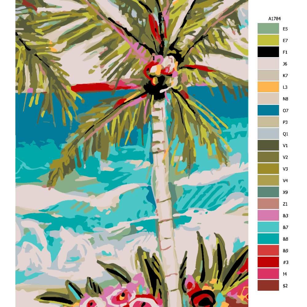 Návod pro malování podle čísel Palma v přímoří