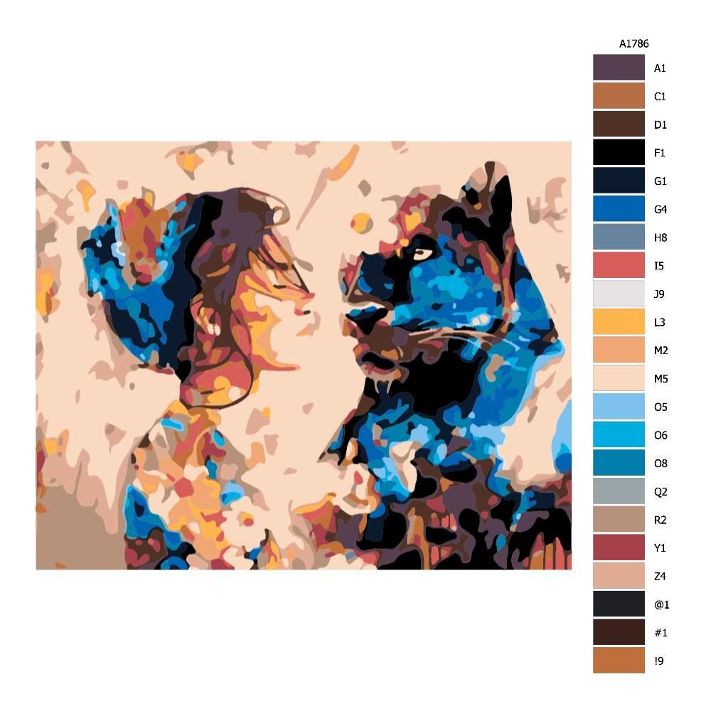 Návod pro malování podle čísel Kráska a zvíře