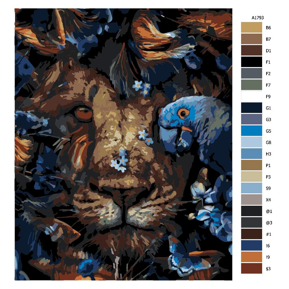 Návod pro malování podle čísel Král jungle