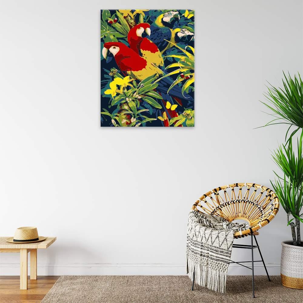 Malování podle čísel Pestrobarevní papoušci