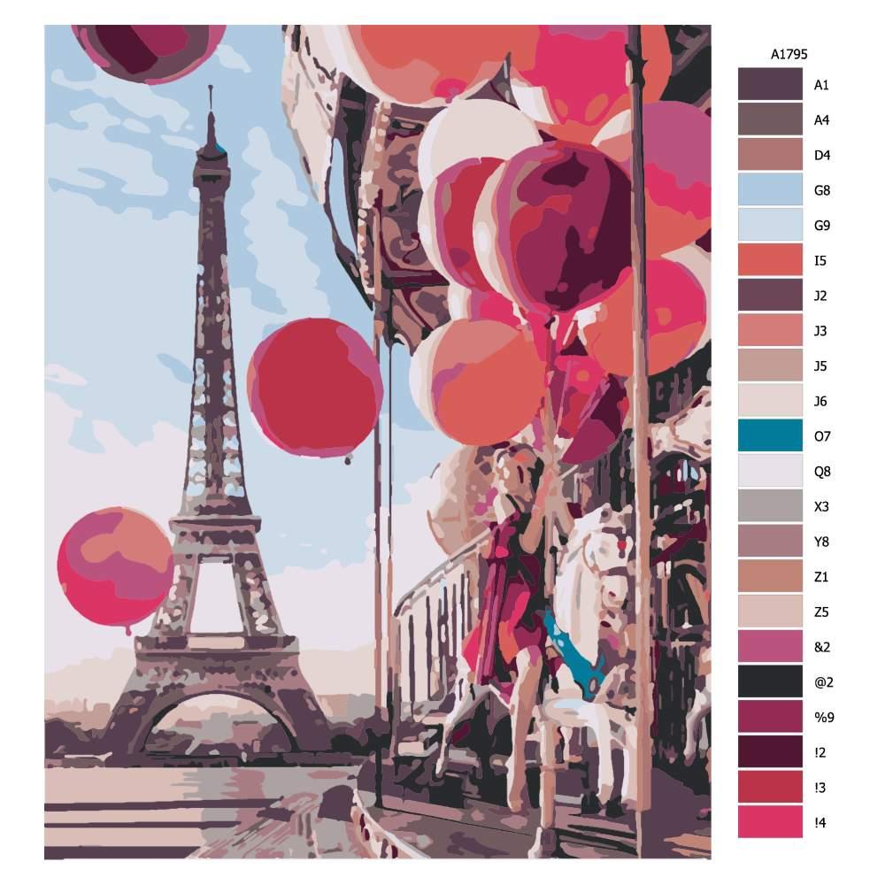 Návod pro malování podle čísel Červené balonky v Paříži