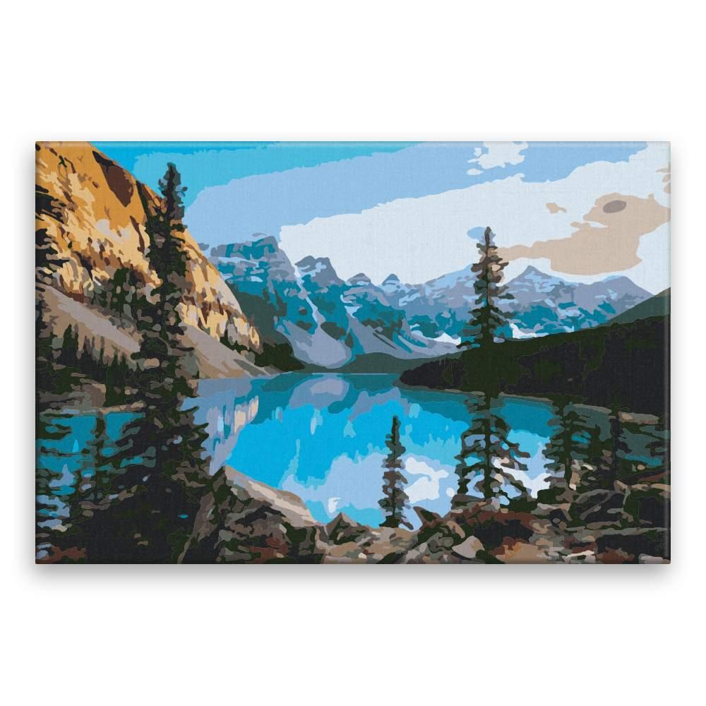 Malování podle čísel Modré jezero v horách