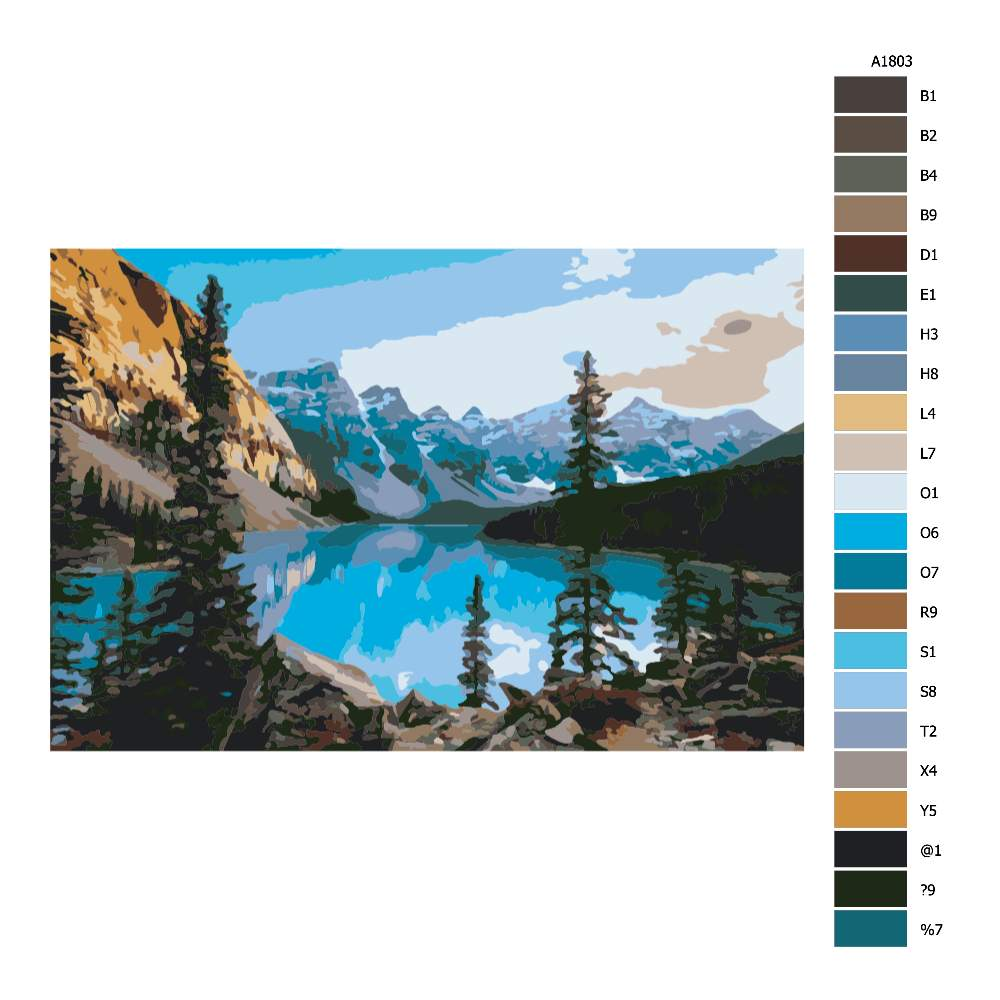 Návod pro malování podle čísel Modré jezero v horách
