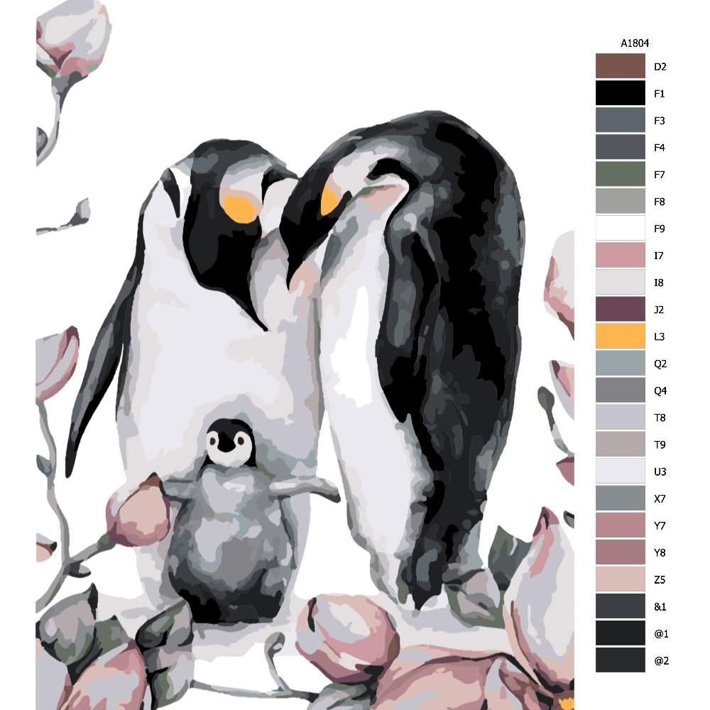 Návod pro malování podle čísel Tři tučňáčci