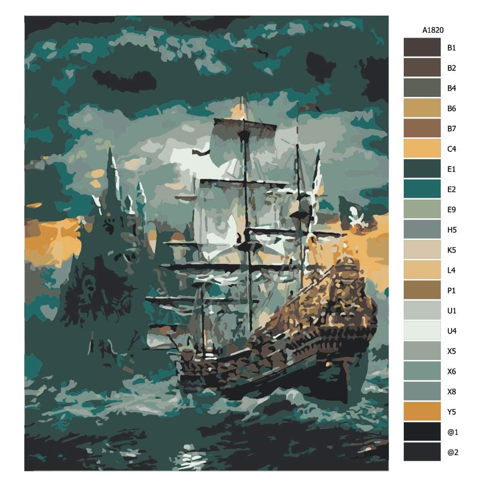 Návod pro malování podle čísel Pirátská loď v bouřce