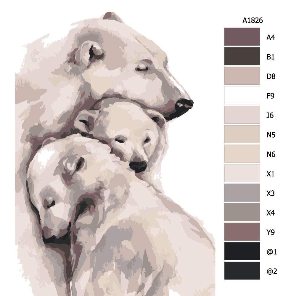 Návod pro malování podle čísel Láska ledních medvědů