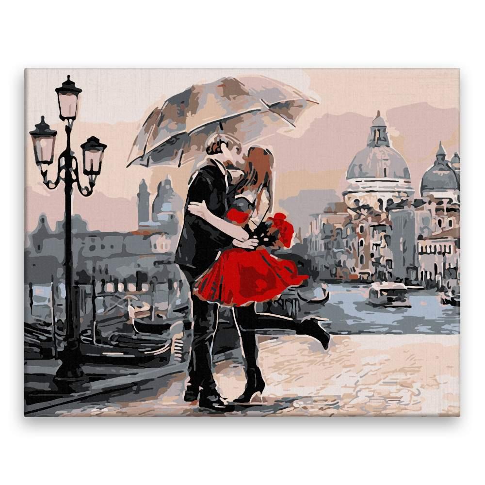 Malování podle čísel Polibek pod deštníkem
