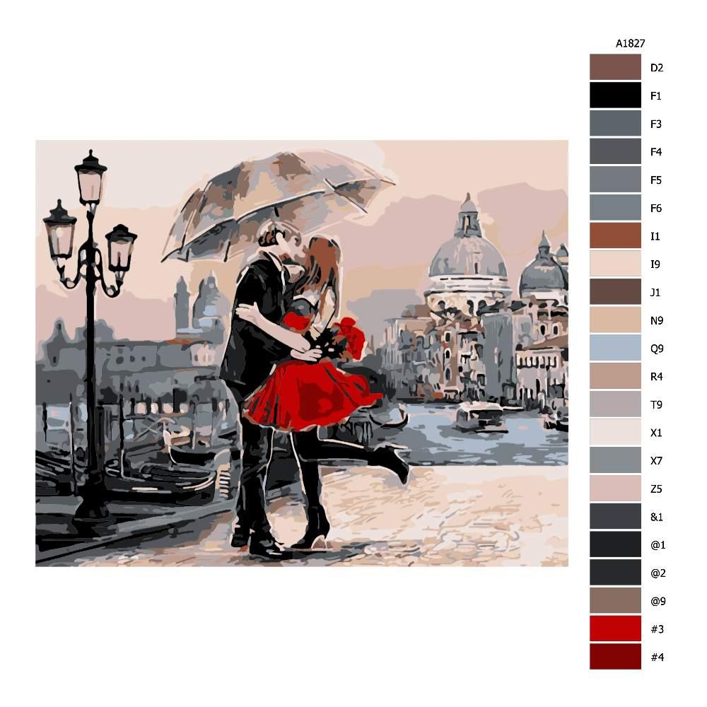Návod pro malování podle čísel Polibek pod deštníkem