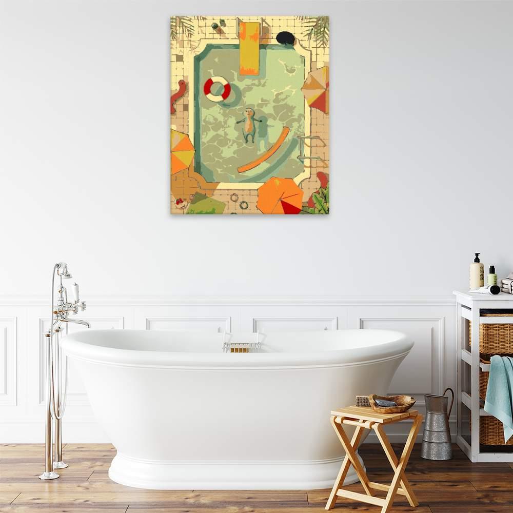 Malování podle čísel Sám v bazénu