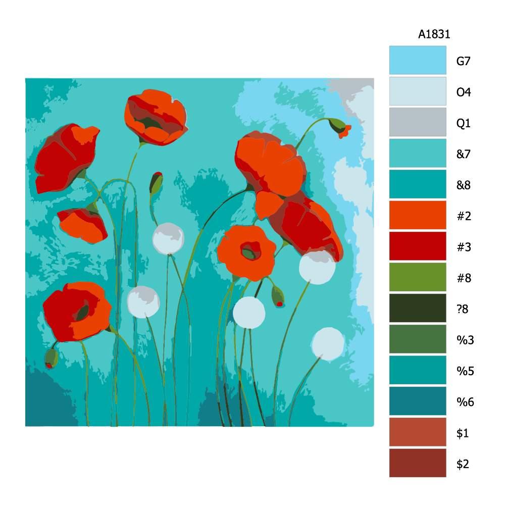 Návod pro malování podle čísel Mák v modrém pozadí