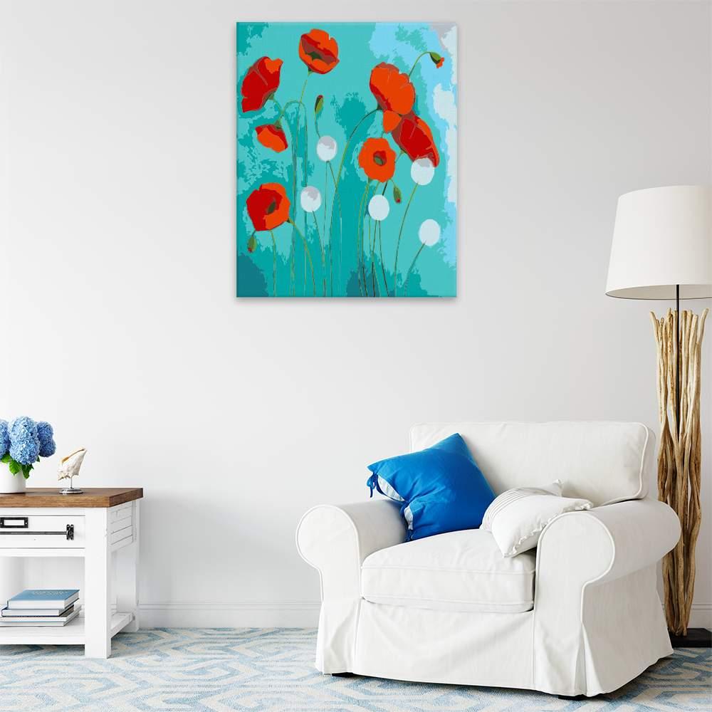 Malování podle čísel Mák v modrém pozadí