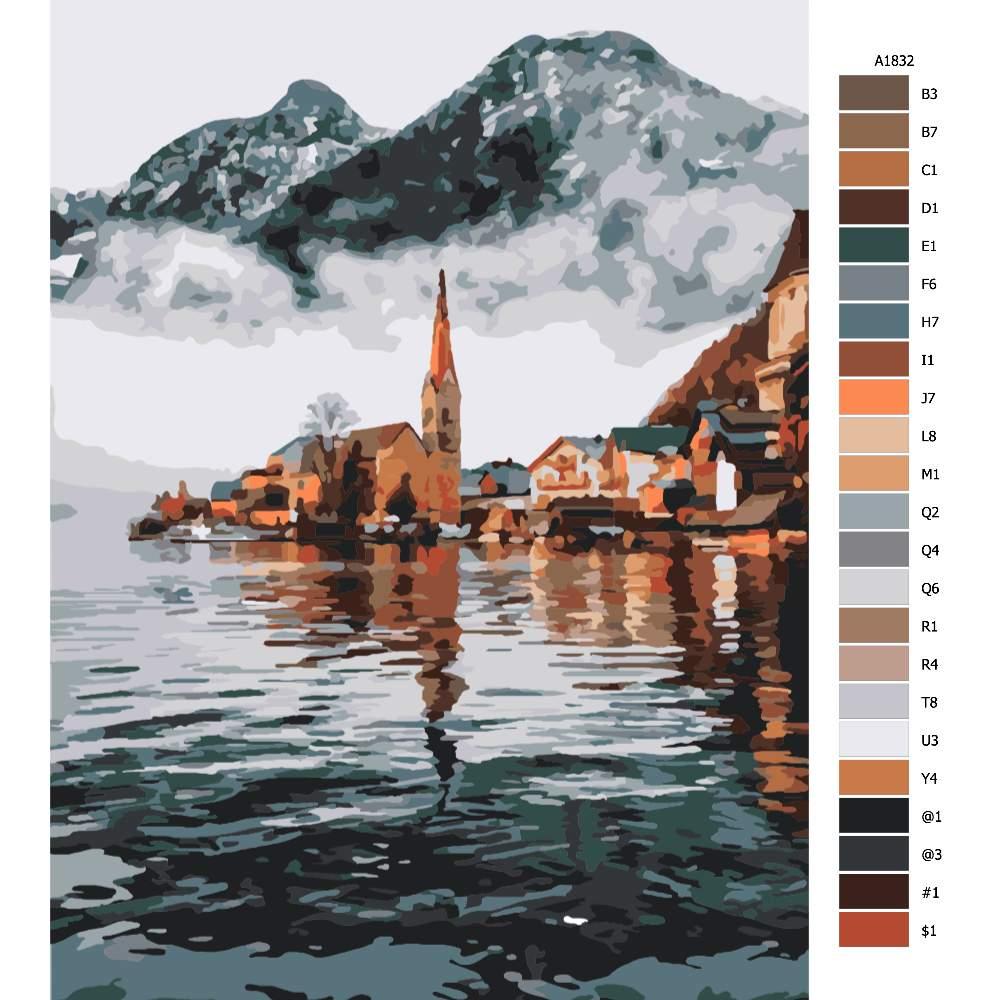 Návod pro malování podle čísel Městečko v zátoce