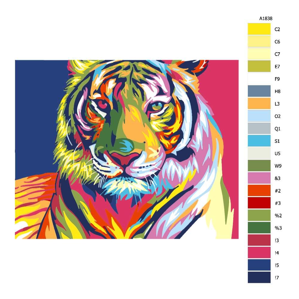 Návod pro malování podle čísel Pohled tygra v barvách