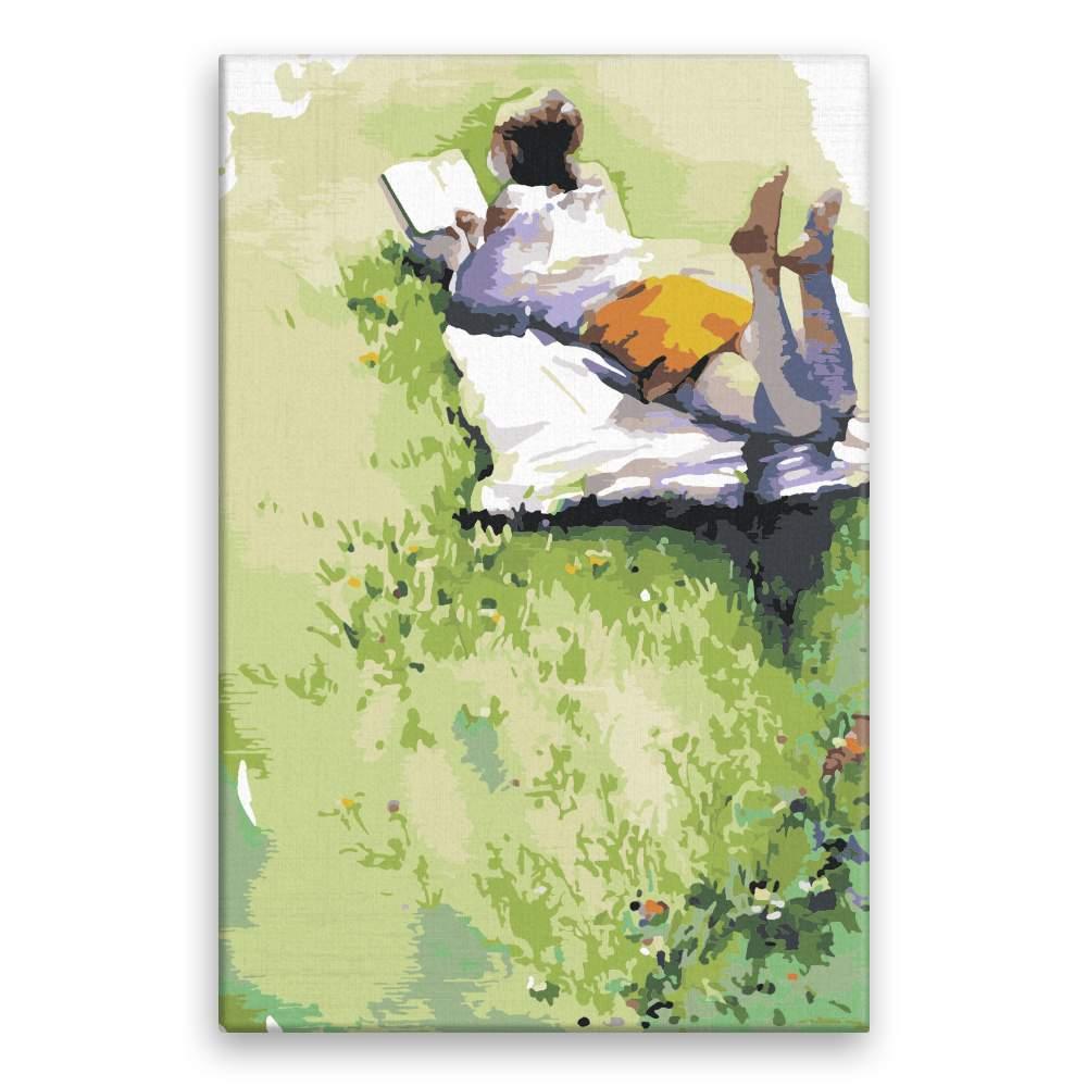 Malování podle čísel S knížkou v trávě