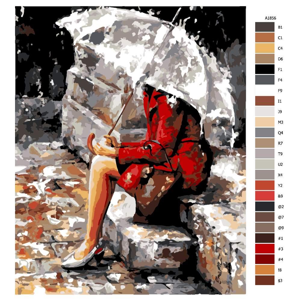 Návod pro malování podle čísel V červeném pod deštníkem