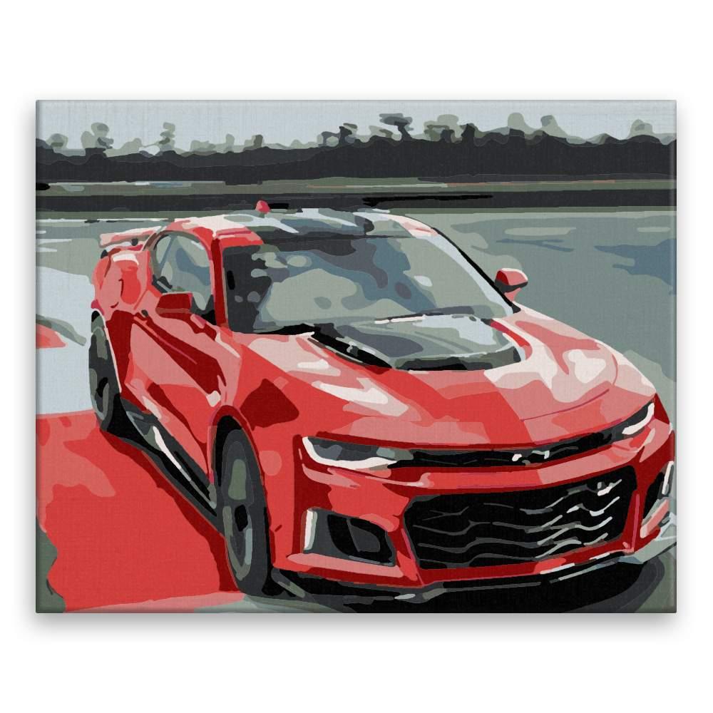 Malování podle čísel Červený Chevrolet