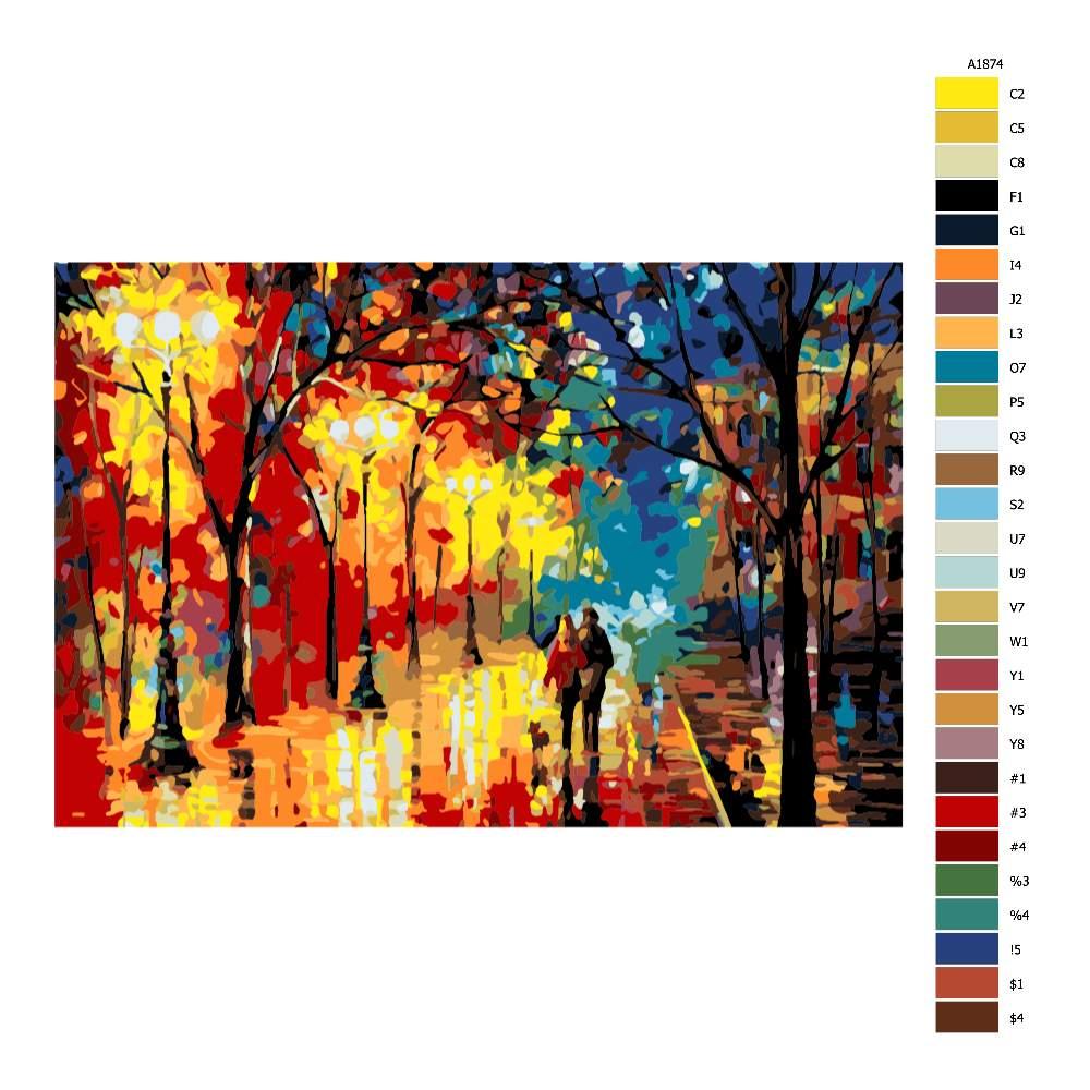 Návod pro malování podle čísel Na večerní procházce