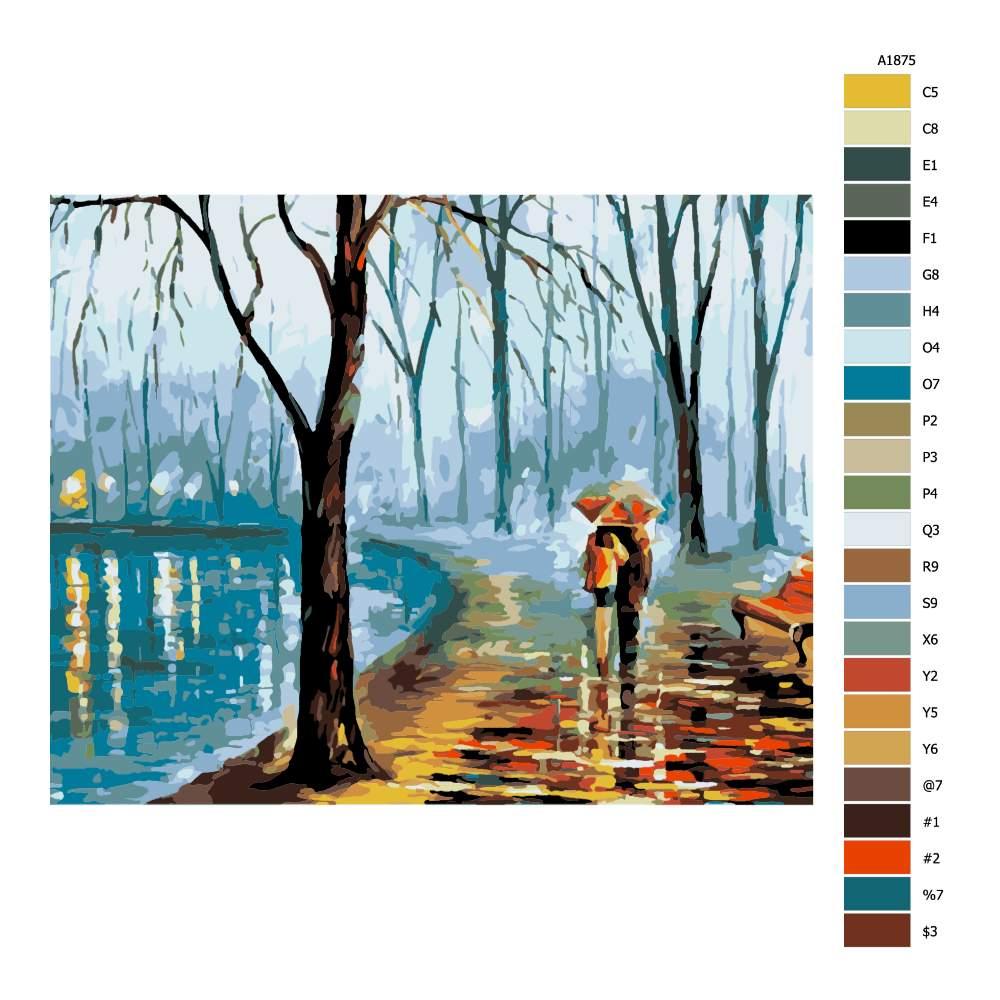 Návod pro malování podle čísel Zimní procházka ve dvou