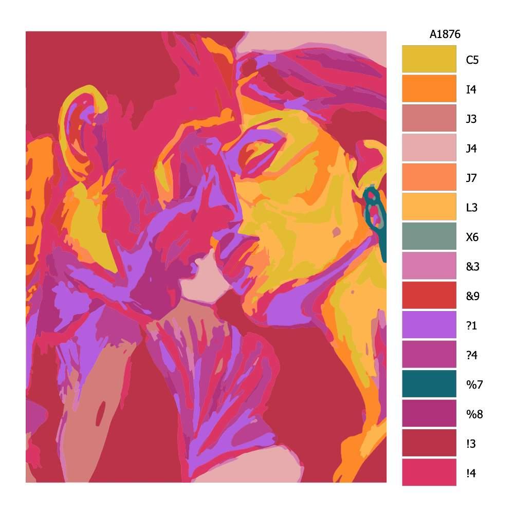 Návod pro malování podle čísel Vášnivý polibek
