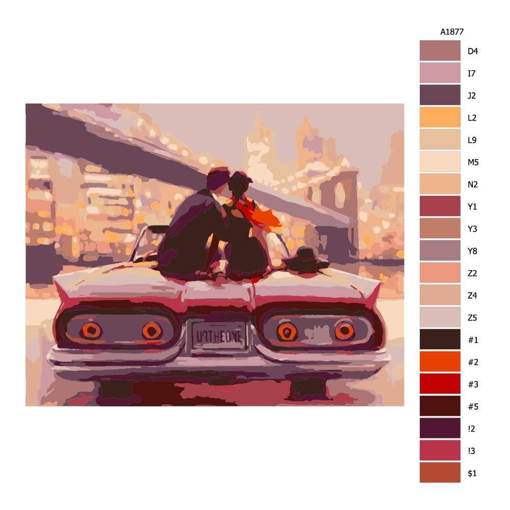 Malování podle čísel Pohled z auta