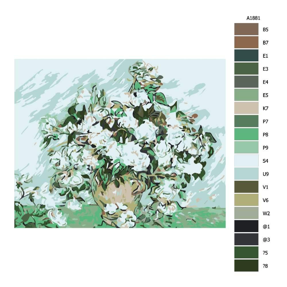 Návod pro malování podle čísel Zelobíllé květy