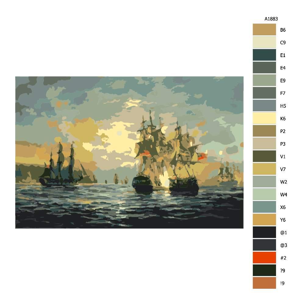 Návod pro malování podle čísel Poklidná plavba