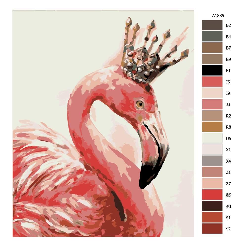 Návod pro malování podle čísel Plameňák s korunou