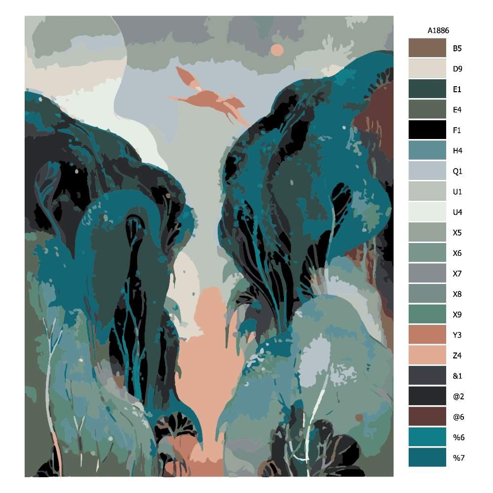 Návod pro malování podle čísel Liška v běhu