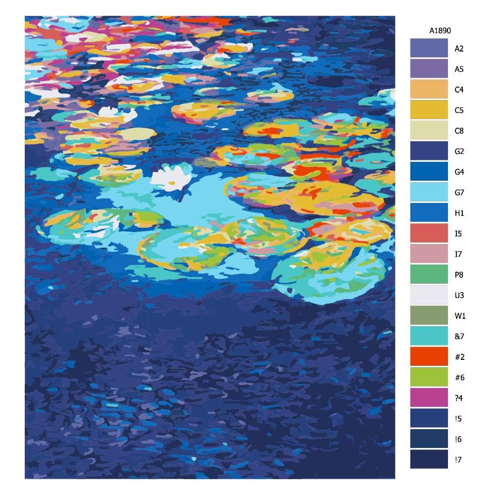Návod pro malování podle čísel Leknínový rybník