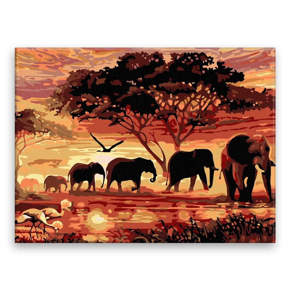 Malování podle čísel Sloni a západ slunce