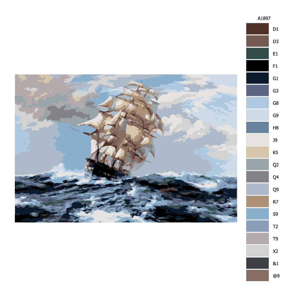Návod pro malování podle čísel Větrná plavba