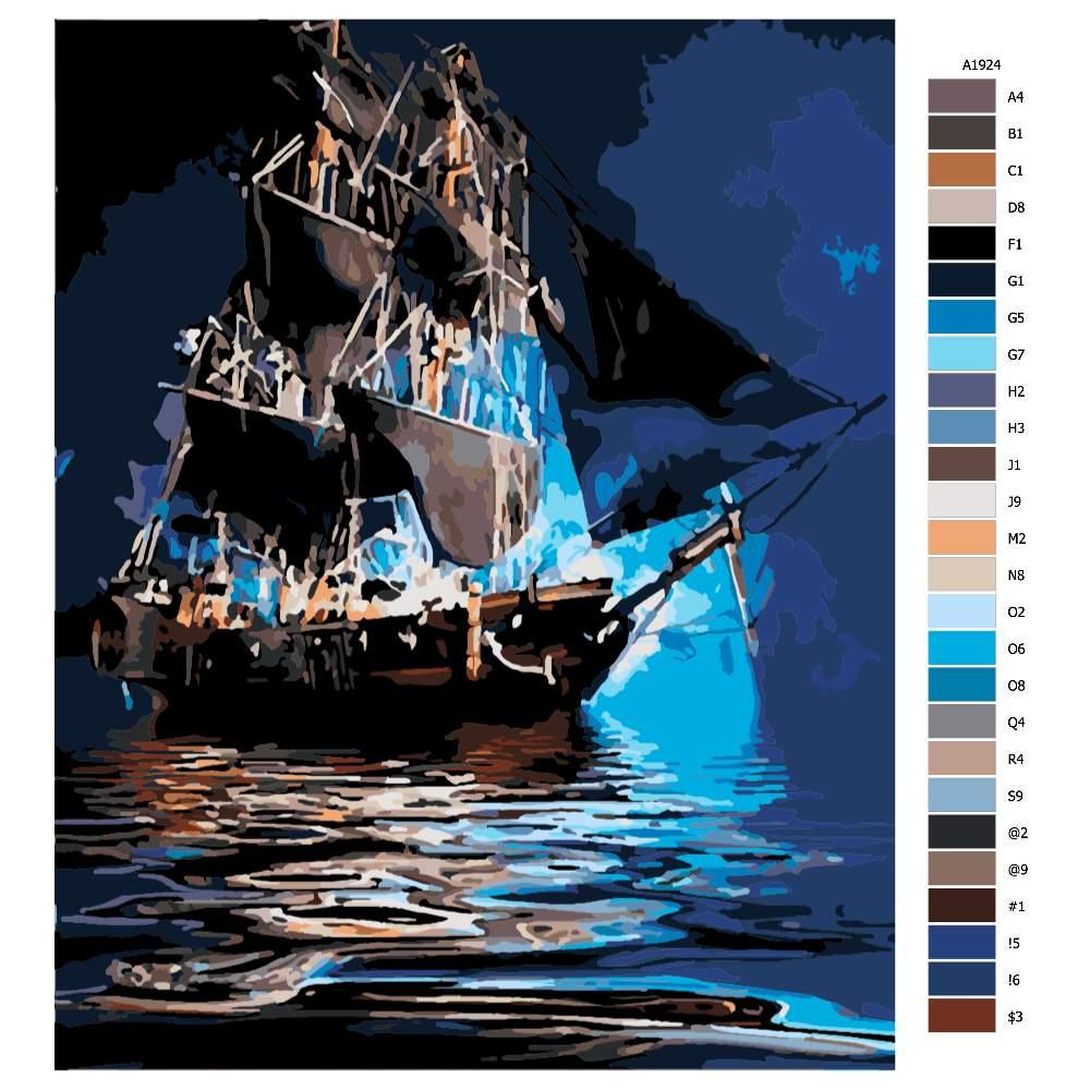 Návod pro malování podle čísel Večerní poklidná plavba