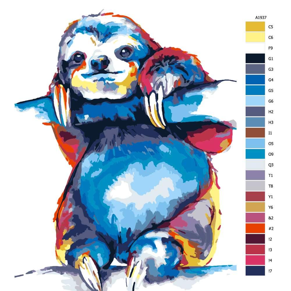 Návod pro malování podle čísel Lenochod na větvi v barvách